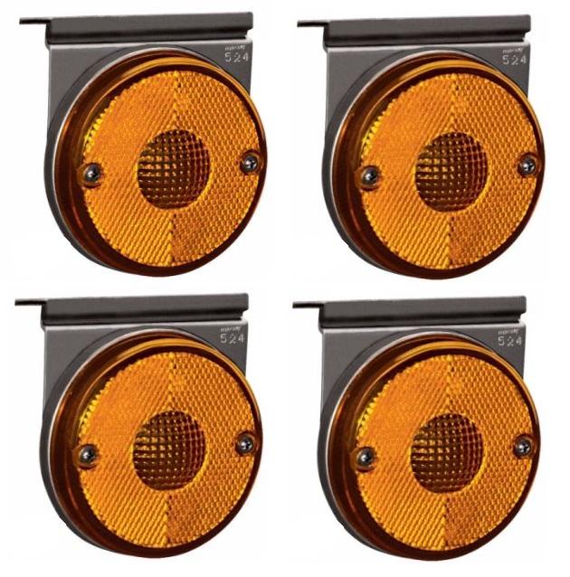 Lanterna Suporte Baú Caminhão Carreta Amarela Led - Kit