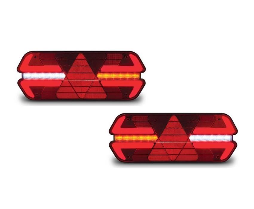 Lanterna Traseira Carreta Triplo X Led 12V - Par