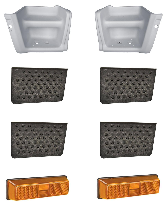 Estribo Ford Cargo 1317 1717 1722 2422 2428 3222 4030 4331 4532 De 2000 A 2012 (Cabine Antiga) Com Lanterna E Tapetes - Par