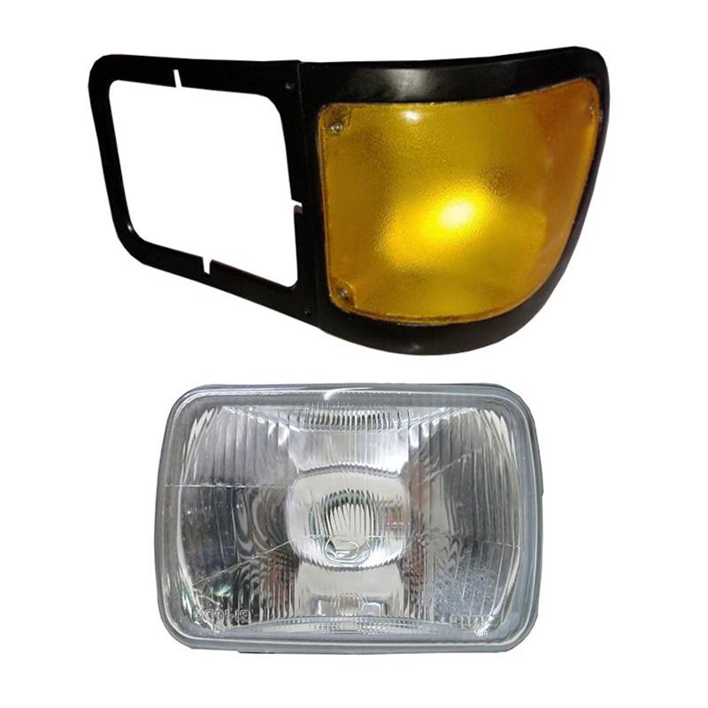 Farol Ford Pitbul F12000 F14000 F16000 De 1999 A 2005 Com Lanterna Seta - Amarelo Esquerda