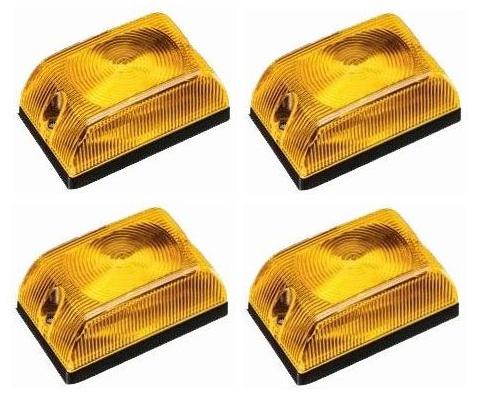 Lanterna Quadrada Baú Caminhão Carreta Amarela Led - Kit
