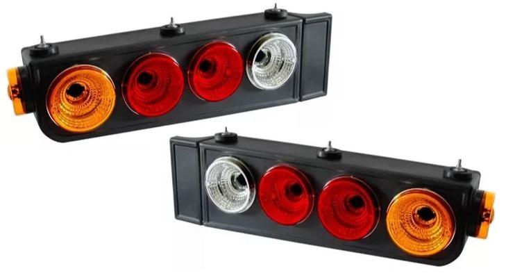 Lanterna Traseira Caminhão Carreta Modelo Randon Luxo - Com Aba (Par)
