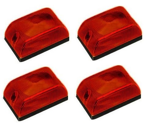 Lanterna Quadrada Baú Caminhão Carreta Vermelha - Kit